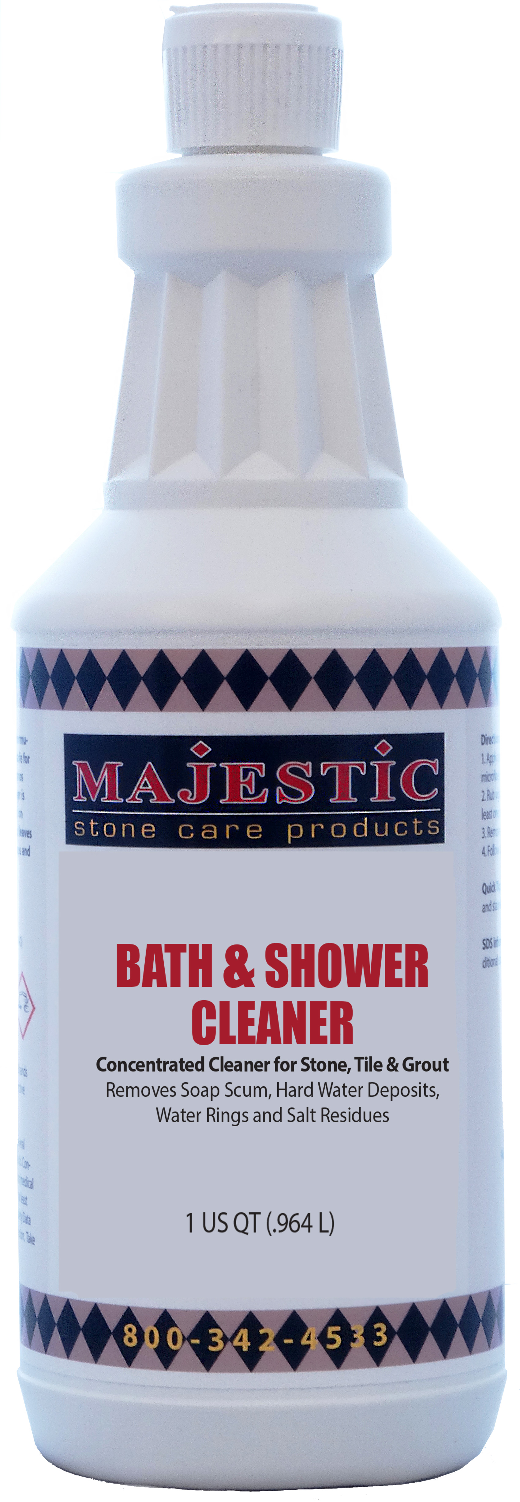 Bath & Shower Cleaner bath, shower, cleaner, clean, non-acid, build-up, buildup, soap, film, scum, residue, hard, water, deposits, showers, bath, bathroom, marble, limestone, travertine, onyx, granite, quartz, walls, floors, glass, acrylic, doors, care, products